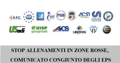 STOP ALLENAMENTI IN ZONE ROSSE, COMUNICATO CONGIUNTO DEGLI EPS